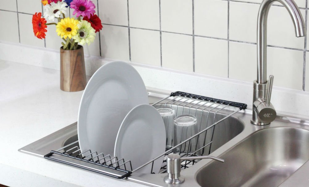 Chrome plated over the sink dish rack and drainer
