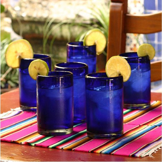 cobalt blue drinking glasses and tumblers