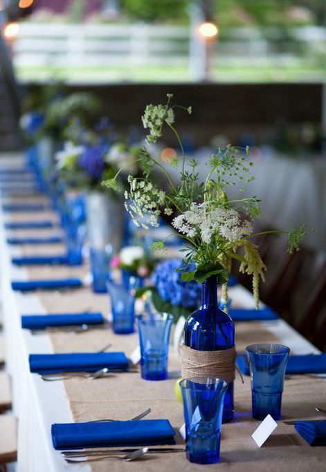 cobalt blue glasses and bottles for weddings