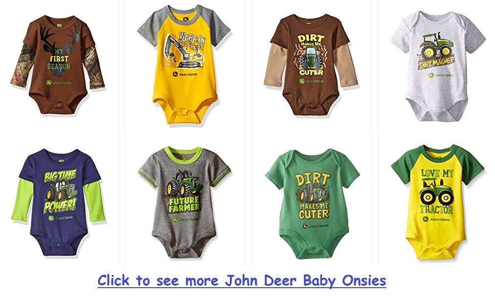 Adorable John Deere baby onesies and bodysuits
