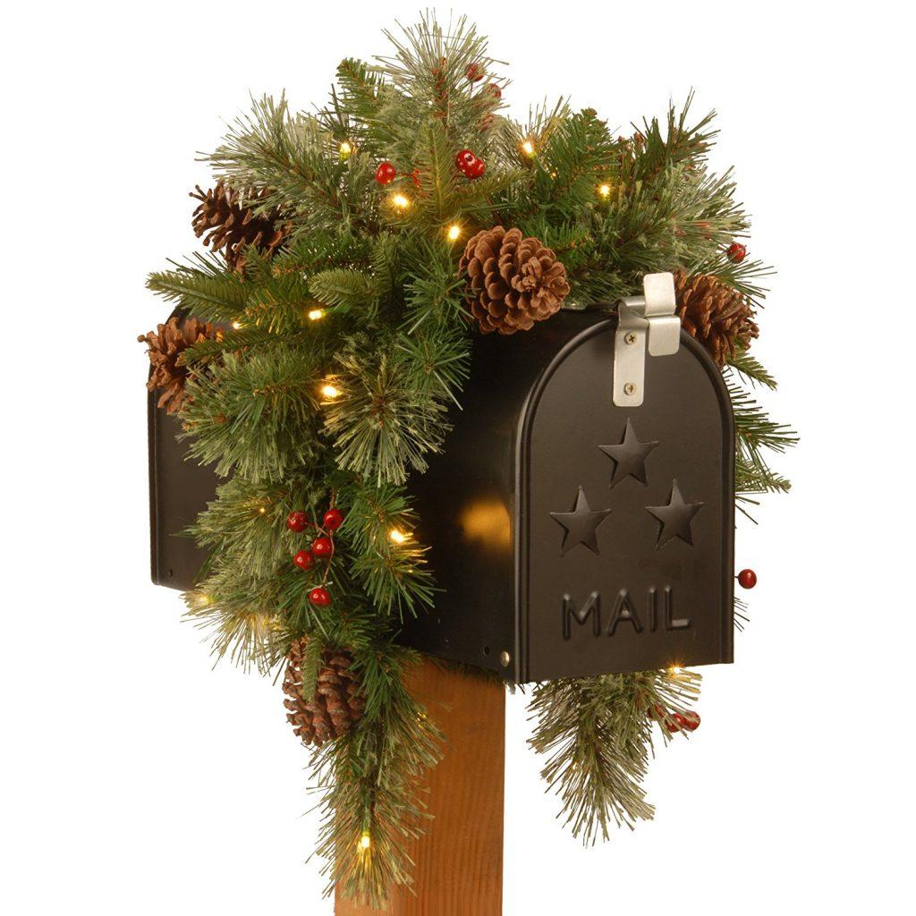 pre lit Christmas mailbox swag