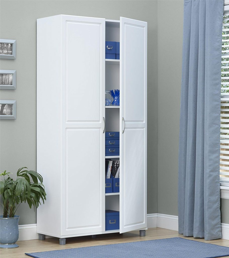 White portable broom closet cabinet